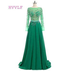 Luxurious Green Evening Dresses A-line Long Sleeves Chiffon Beaded Backless Long Evening Gown Prom Dress Prom Gown