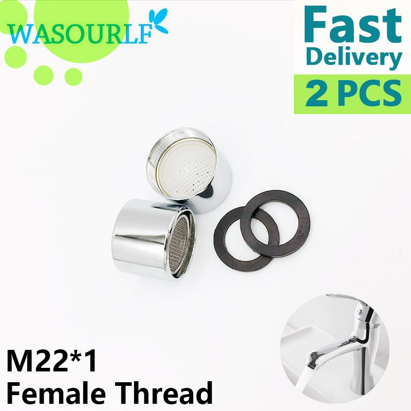 WASOURLF 2 piezas buena calidad M22 * 1 22mm rosca hembra grifo aireador grifo burbuja 304 núcleo de acero inoxidable latón shell envío gratis
