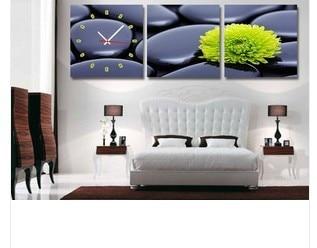 Green Chrysanthemum Wall Decor Clock On Quality Canvas Prints Set Of 3 FRAMED