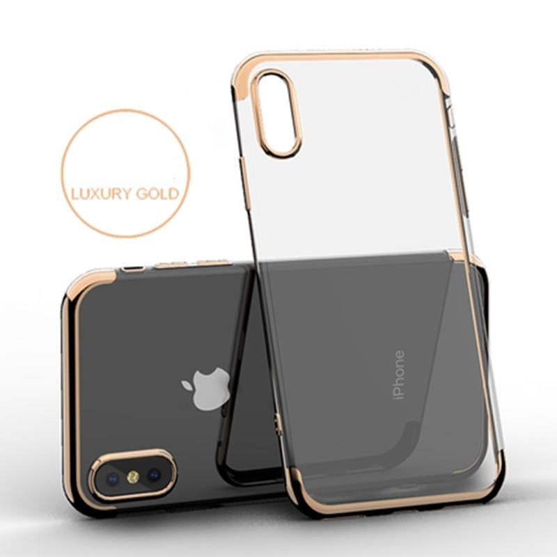 Ultra funda fina para el iPhone 8 Plus 5 5S SE 6 6S Plus 7 Plus XS MAX XR X lujosa carcasa trasera de TPU con revestimiento de goma cristalina