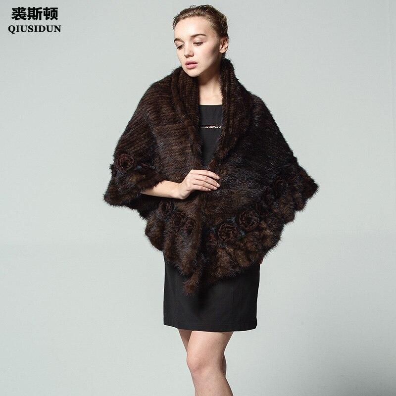 QIUSIDUN, Poncho tejido de piel de visón, chal de visón, chal de Invierno para mujer, chal moderno con flores, solapa cálida para mujer rusa, borde ondulado