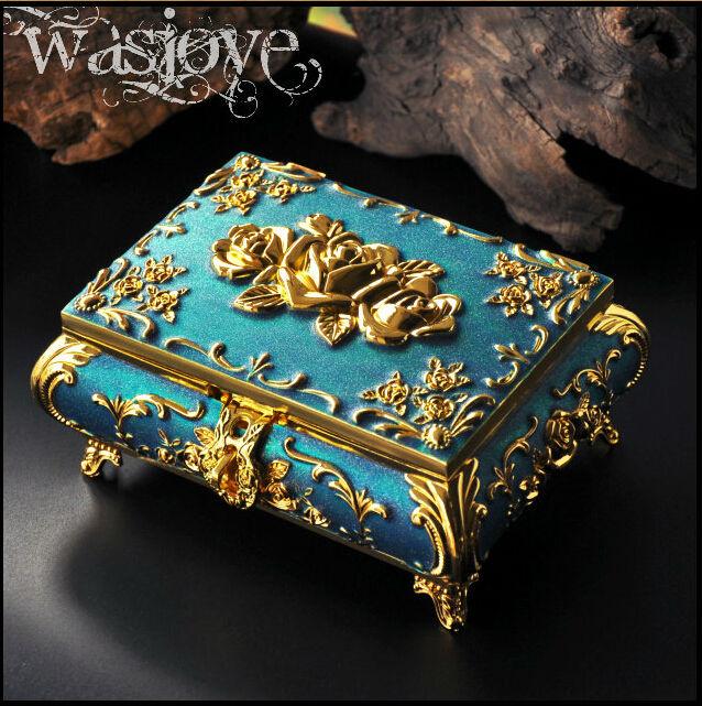 European rectangle red/white/blue metal jewelry box storage box jewelry organizer for gift box jewelry display Z003B