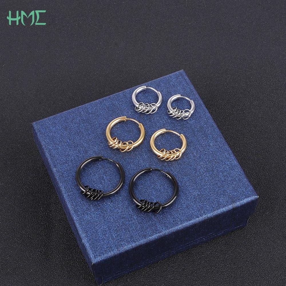 2pcs Hipster Men Punk Rock Black Round Hoop Stainless Steel Circle Stud Earrings for Women Piercing Brincos Bijoux Ear Ring