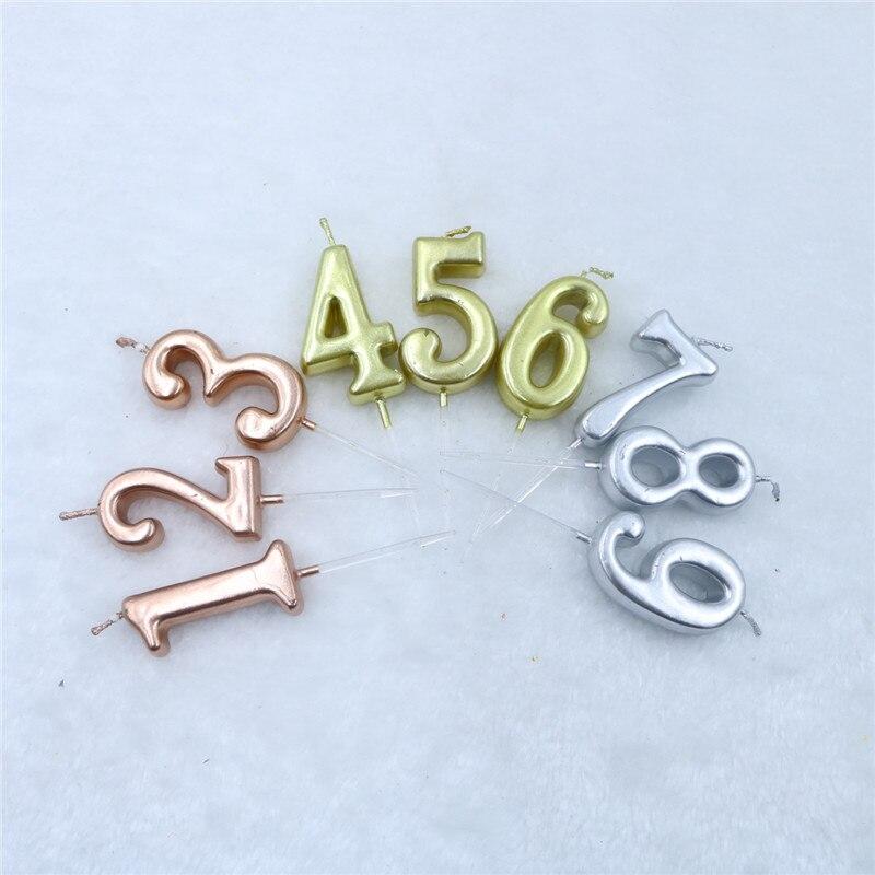 1 Uds. Velas para tarta de Feliz Cumpleaños de plata y oro rosa, decoraciones para fiestas de adultos/niños 0-9 velas con números, suministros de decoraciones para fiestas