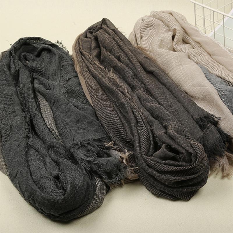 Fashion Designer Hollow Linen&Cotton Scarf Women Solid Color Muslim Hijab Scarves Crinkle Solid Islam Head Hair Scarf Shawls