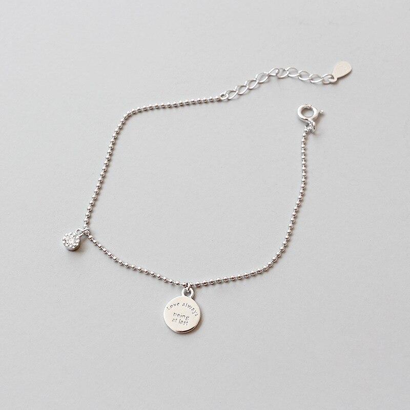 Dünne Authentische 925 Sterling silber Brief Gravierte Münze & Zirkonia Glück Runde Perlen Kette armbänder/Fußkettchen feine Schmuck S23