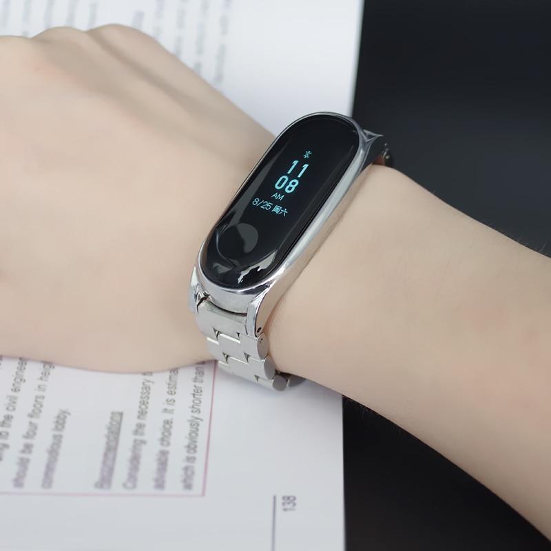 for Xiaomi Mi Band 6 Strap Compatible Mi Band 5 4 3 Strap NFC Miband 5 Bracelet Metal Steel Global Version Wristbands Correa