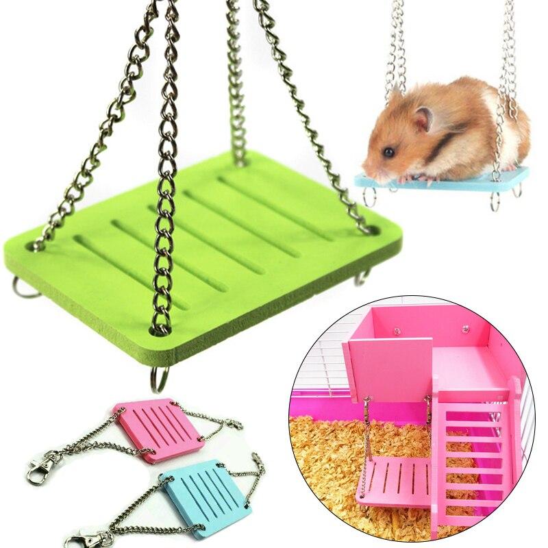 Regenbogen Hamster Spielzeug Schaukel Hängen Gadget Holz Käfig Zubehör Liefert Amüsieren Maus Holz Hamster Schaukel Spielzeug Drop verschiffen