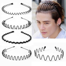 Fashion Black Metal Waved Style Alice Sports Hairband Solid Men Women Unisex Hair Band 1Pcs Casual A