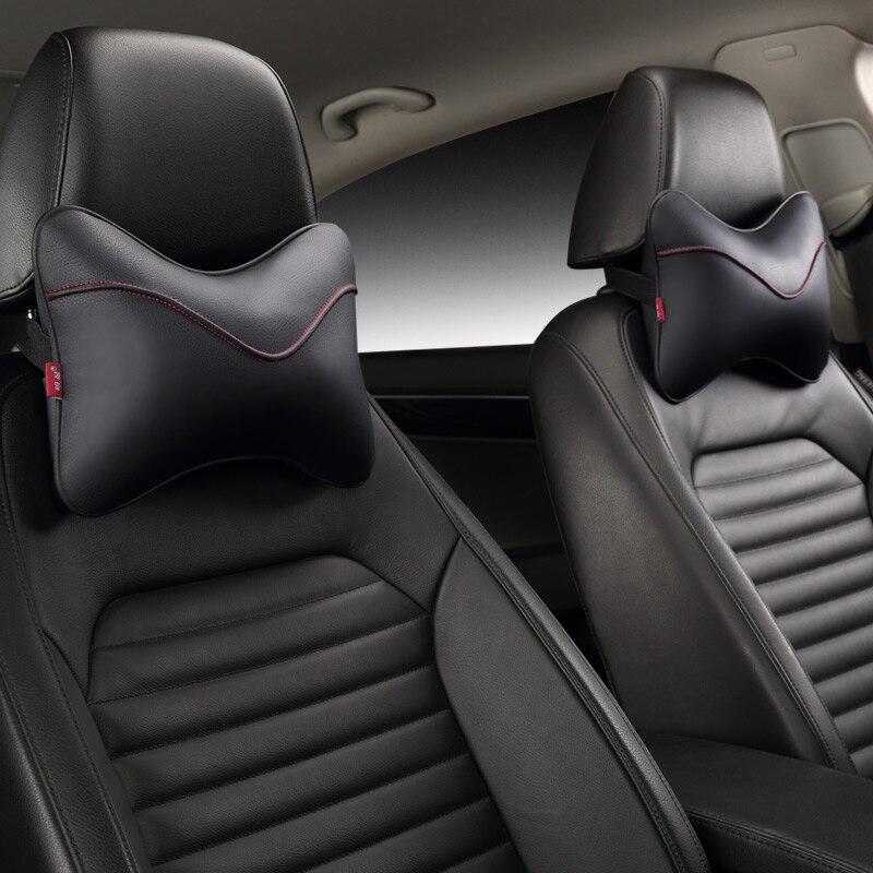 Nuevo reposacabezas de coche con almohada de cuero cervical es adecuado para BMW Benz A4L Audi A6 Q5, se adapta a 95% coches