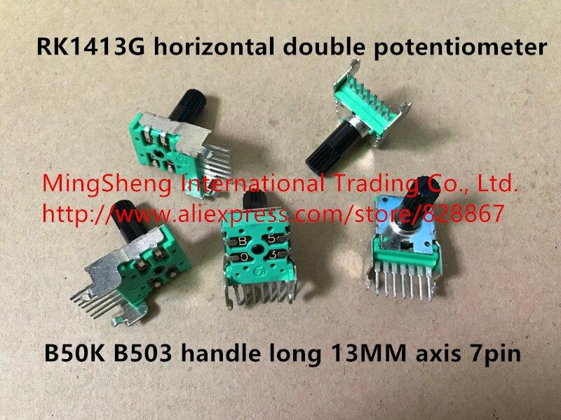 Original nuevo 100% RK1413G horizontal doble potenciómetro B50K B503 pie largo mango largo 13 MM eje 7pin (interruptor)