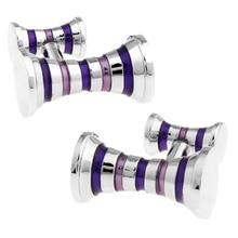 New Design! Factory Price Retail Men's Cufflinks Copper Material Blue Colour Stripe Design Enamel Cu