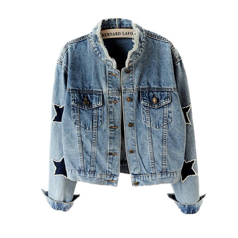 Primavera moda pérola denim jaqueta feminina vintage plus size miçangas estrela curto jean jaquetas harajuku manga longa senhoras casaco