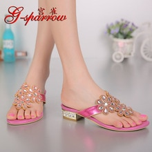G-sparrow 2019 New Women's Fashion Rhinestones Slippers Flat Heels Flip Flops Gold Pink Size 11 High Quality