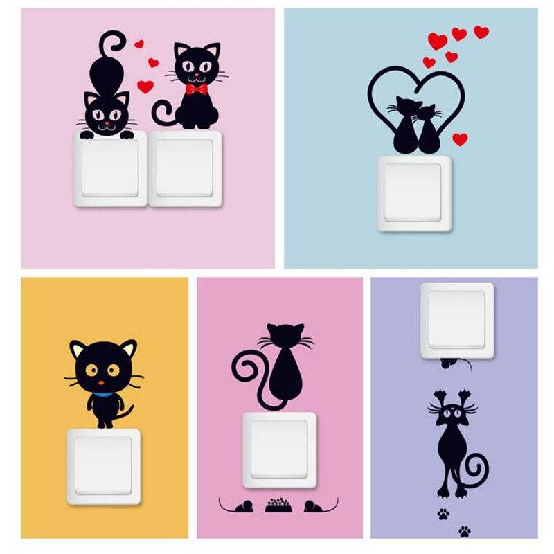 Engraçado Bonito Do Cão Do Gato Interruptor Adesivos de Parede Adesivos DIY Casa Decoração Do Quarto Sala de Estar Decoração hot Pvc Mural Art
