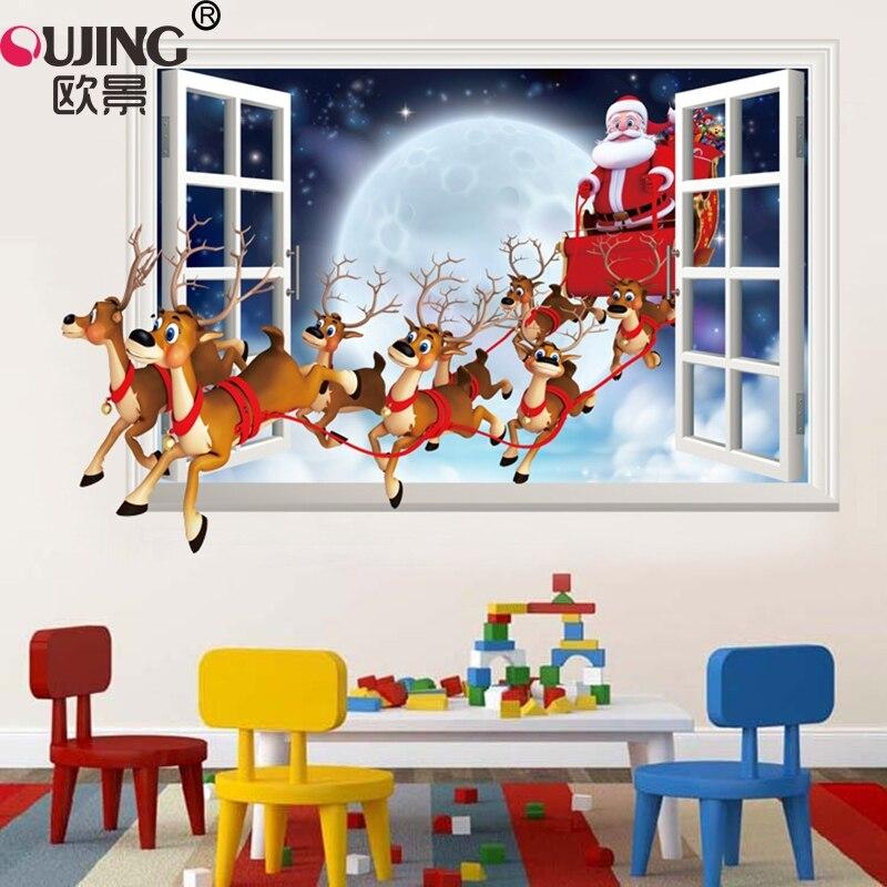 3D имитация поддельное окно Санта-Клаус стикер на стену в виде оленя домашний декор плакат для спальни фестиваль Рождественское украшение ПВХ художественная роспись