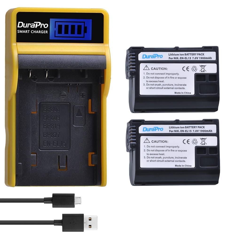 DuraPro 2pc1900mAh EN-EL15 EN EL15 Li-ion Battery + LCD USB Charger for Nikon D800E D800 D600 D7100 D7000 D7100 V1 MB-D14 Camera