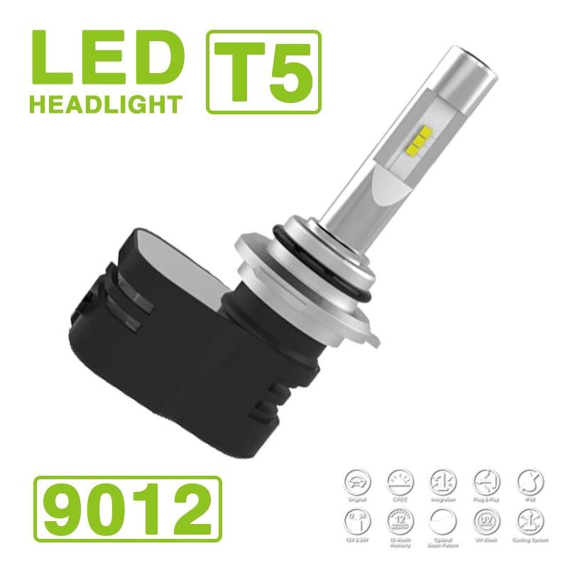 2017 9012 turbina HIR2 T5 LED faro bombillas Kit 60W 9600LM CSP Y19 Chips LED todo en uno blanco puro 6000K Turbon Fan