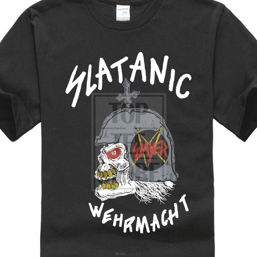 Vintage Slayer Slatanic Wehrmacht Tour 1985 negro camiseta Xs 2Xl