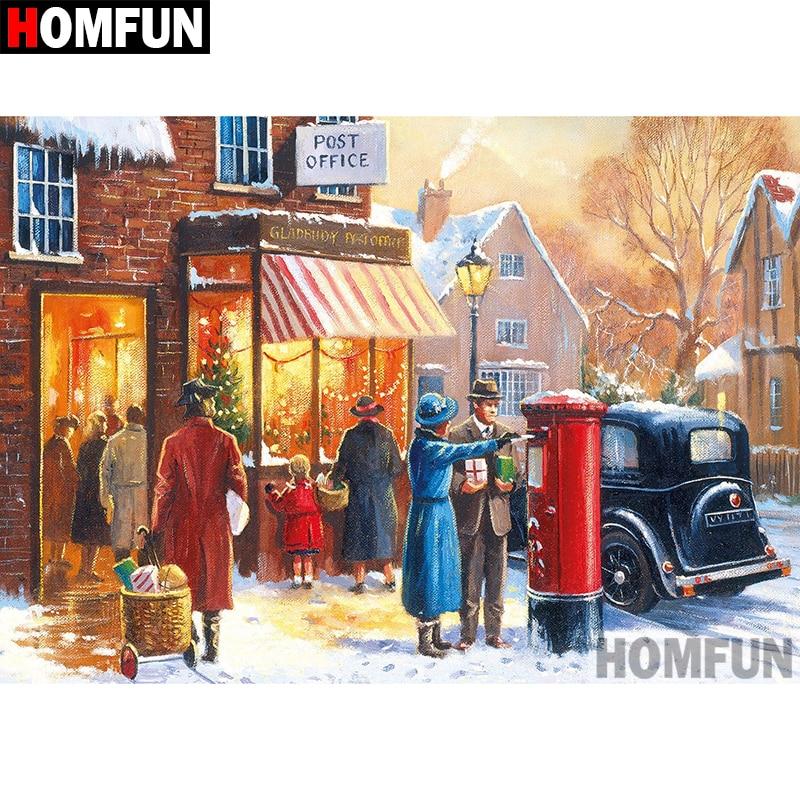 """HOMFUN 5D DIY pintura de diamante cuadrado completo/taladro redondo """"Ciudad de invierno"""" bordado regalo de punto de Cruz decoración del hogar regalo A08300"""