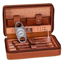COHIBA Cedar Holz Zigarre Humidor Reise Tragbare Leder Zigarre Fall Zigarren Box Mit Cutter Luftbefeuchter Humidor Box