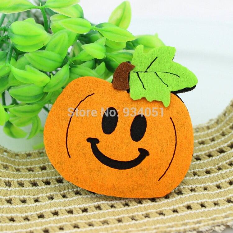 100 pcs/lot Große gelbe Non Woven Stoff Filz Kürbis Appliques Kawaii Patches für DIY, Halloween Decor, wand dekor