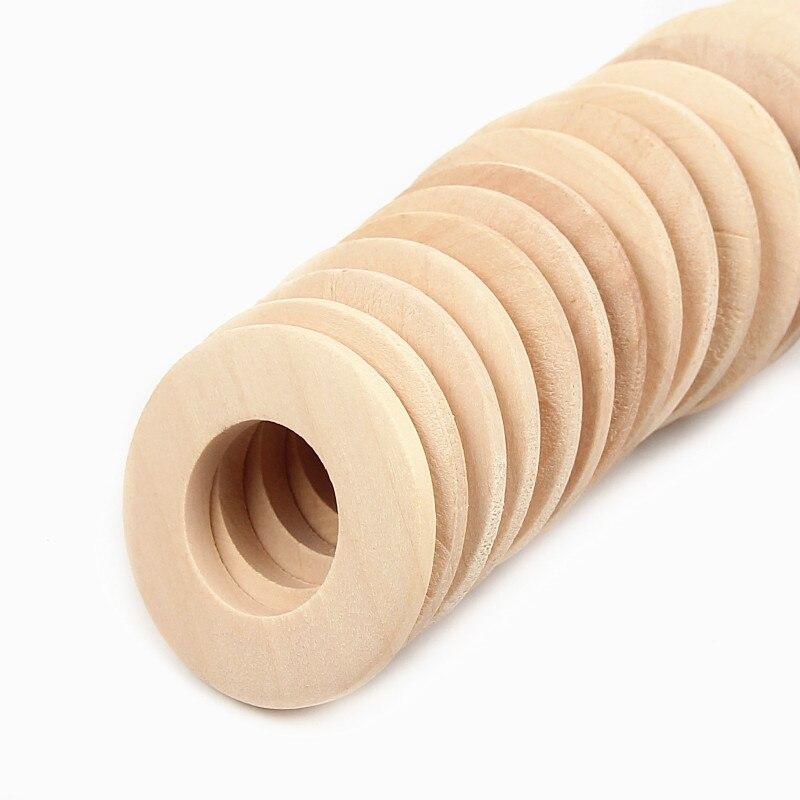 10 pces 40mm anel de madeira sem chumbo inacabado natural para fazer jóias diy bebê contas de dentição de madeira diâmetro interno 20mm