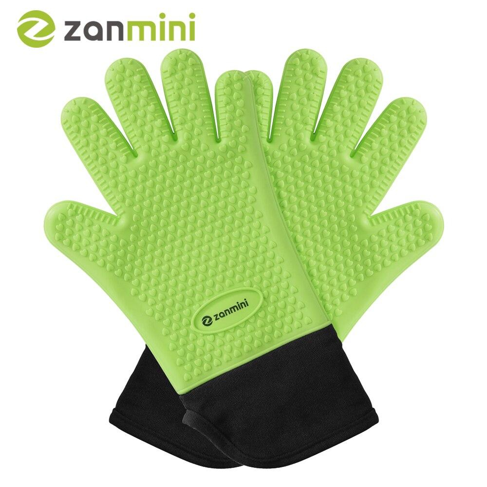 Zanmini guantes de silicona resistentes al calor gruesa Cocina Barbacoa parrilla horno guante para hornear cocina guante de barbacoa utensilios de cocina Z28