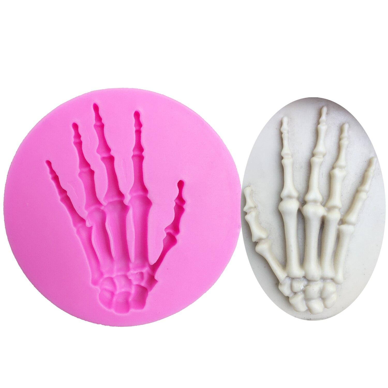 M0699 mano con calavera de Halloween molde de silicona utensilios para decoración de tortas con fondant Chocolate pastillaje moldes