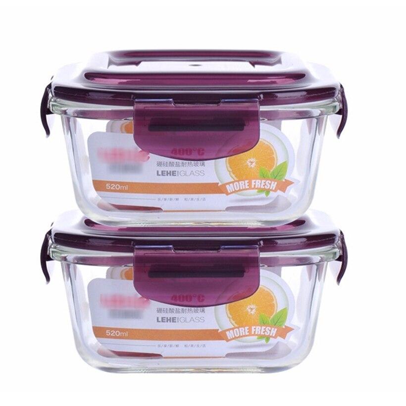 Fiambrera transparente de vidrio de borosilicato de 2 unids/set, fiambrera de calidad saludable