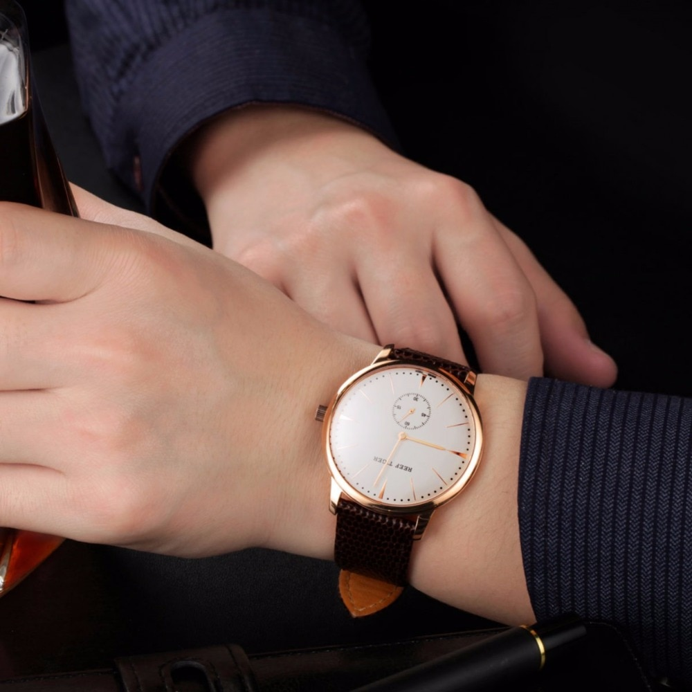 Reef Tiger/RT Rose Gold Ultra Thin Quartz Watches For Men Rose Gold Watches with Stingray Leather Strap Watch RGA820 enlarge