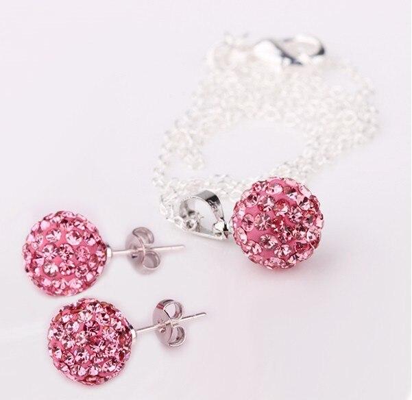 Набор ювелирных изделий YiKLN, ожерелье и серьги с микро Фианитами, 10 мм, для женщин, SHSE51