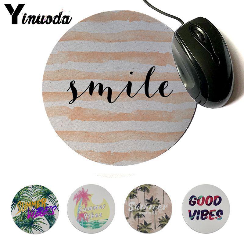 Alfombrilla de ratón para juegos profesional de goma suave con sonrisas y buenas vibraciones, alfombrilla de ratón de escritorio redonda de goma Natural de Yinuoda