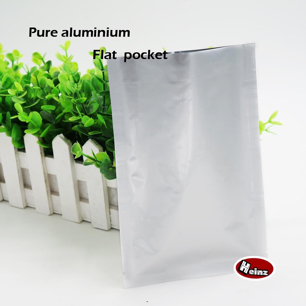 Bolsillos planos de aluminio puro de 6*9 cm, bolsas herméticas térmicas de vacío para contenedores, almacenamiento de alimentos, embalaje de cosméticos. Spot 100/paquete
