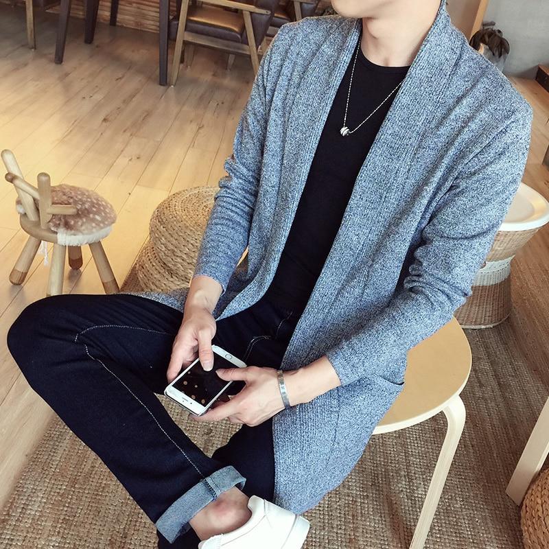 Новый Модный повседневный мужской длинный свитер на весну и осень, мужской свитер, пальто, вязаный кардиган, куртка, приталенный свитер, теп...