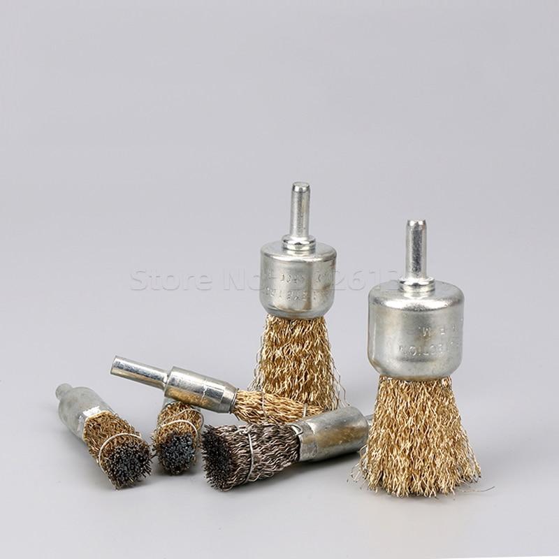 1 stks professionele 6mm schacht koper plating rvs draad wiel - Schurende gereedschappen - Foto 3