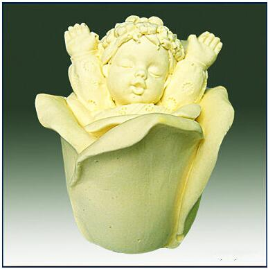 Molde chica Ángel Bebé Rosa 3D silicona para jabón moldes molde de vela hecho a mano torta decoración herramientas de hornear Fondant moldes de gel de sílice