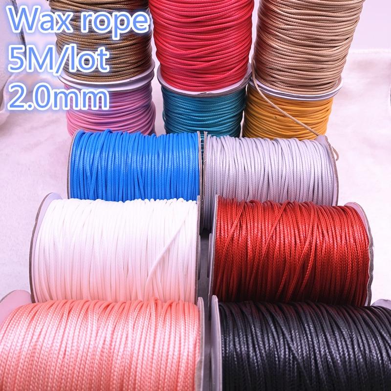 Cuerda de algodón encerada de 5M de diámetro de 2,0mm, cuerda de rosca encerada, correa para collar, cordón de cuerda para fabricación de joyería DIY