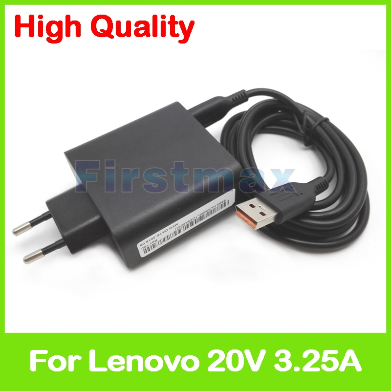 20V 3.25A 5,2 V 2A USB AC adaptador de corriente para Lenovo Yoga 700-11ISK 700-14ISK cargador de tableta 5A10G68677 ADL65WLE 5A10G68678 enchufe de la UE