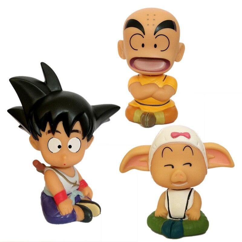 3 pçs dragon ball z kuririn son goku oolong bobble cabeça figura de ação conjunto balançando cabeça modelo brinquedo decoração do carro