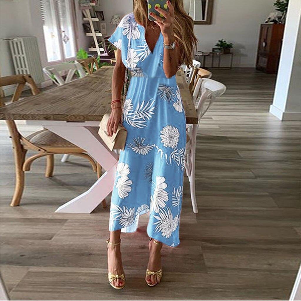 Female Print V-Neck Asymmetrical Ankle-Length Dress Summer Womens Fashion hot flower Casual long dress vestido mujer verano