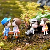 4pcsset sweety lovers couple figurines miniatures fairy garden gnome moss terrariums resin crafts home ornament decoration