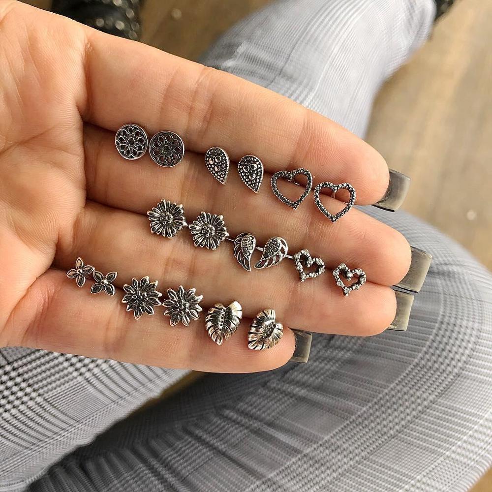 SexeMara 9 par/set lindo Vintage corazón Lotus Wing Earrings Set para mujer Punk geométrico Animal Ears Aros joyería de moda