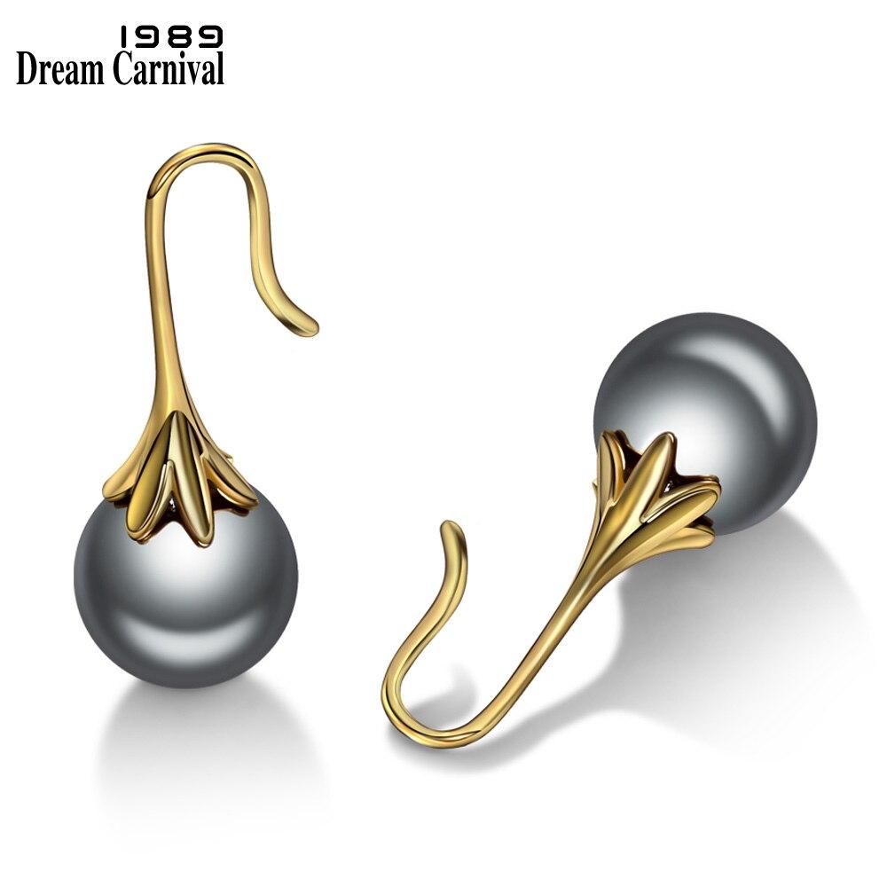 Женские жемчужные серьги DreamCarnival, элегантные серьги 12 мм серого и золотого цвета с простой застежкой, WE3654G