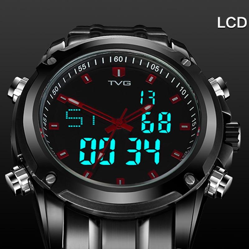 TVG Full Steel Sport Watch Mens Quartz Analog Military Watch Waterproof LED Digital Watch Men Wrist Watch relogio masculino
