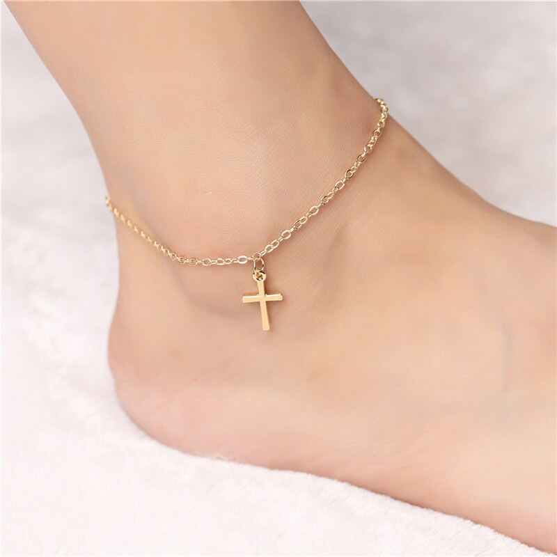 Ufavoirte joyería de pie de moda Simple de moda Cruz fe tobillera de gota verano descalzo tobillo pulseras para pierna regalo para mujer chica