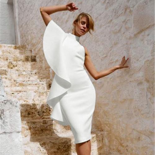 2018 Summer Fashion New High Street One Shoulder Halter Backless White Ruffles Slim Elegant High Waist Knee-Length Women Dress