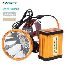 Phare CREE XHP70 Super lumineux blanc ou jaune lumière facultative intégrée 8*18650 batterie rechargeable phare LED