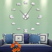 Sus Scrofa, figuras de jabalí salvaje, pegatinas de espejo para pared, reloj gigante de pared DIY, reloj colgante grande de cerdo salvaje, reloj de pared, regalos de cazador