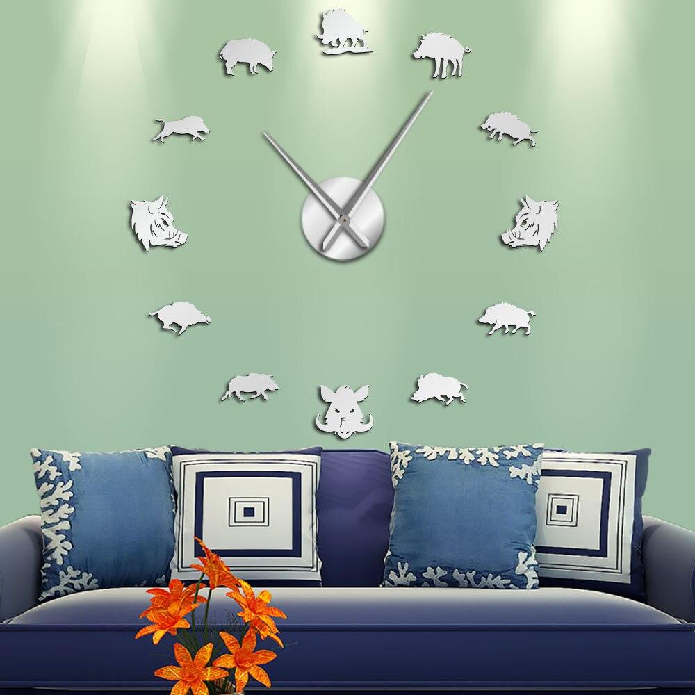 Sus scrofa javali selvagem figuras parede espelho adesivos diy gigante relógio de parede porco selvagem grande pendurado relógio de parede caçador presentes